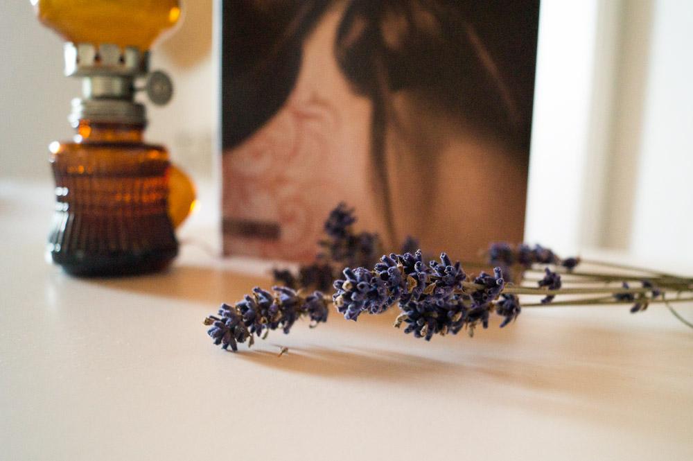 Lavendel als Deko vor Kristin Cashores Buch